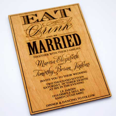 engraved wood invitations