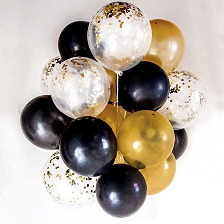 black, gold, and clear confetti balloons