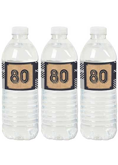 Aged to Perfection 80th birthday water bottle labels