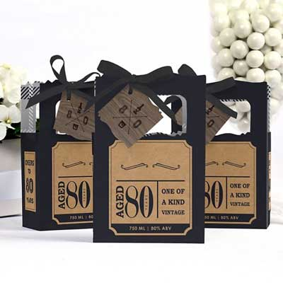 Aged to Perfection 80th birthday favor bags