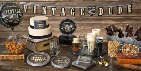 Vintage Dude 80th birthday party supplies