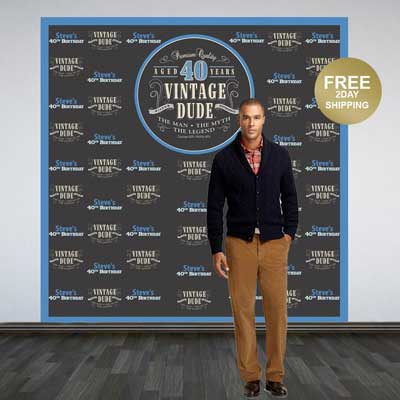 Vintage Dude 80th birthday backdrop