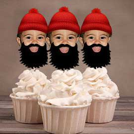 custom photo lumberjack cupcake toppers