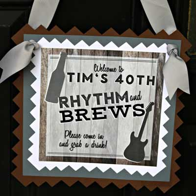 Rhythm and Brews party welcome sign