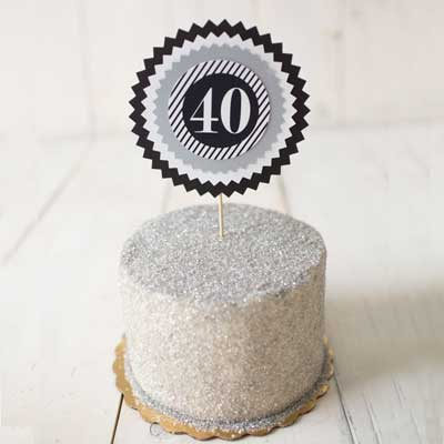 black and silver milestone birthday cake topper