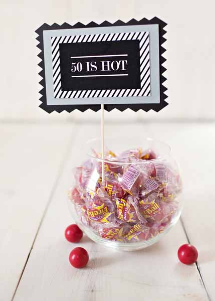 50 is hot candy buffet sign