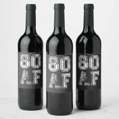 80 AF wine bottle labels