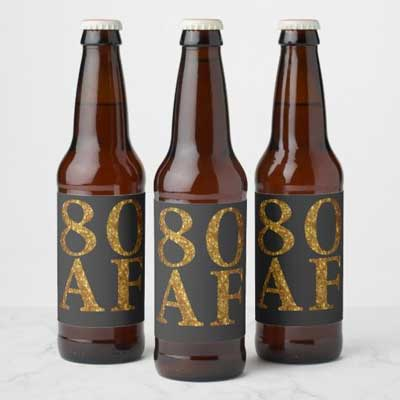 80 AF beer bottle labels