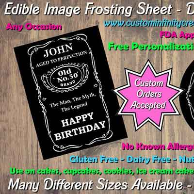 Jack Daniels edible frosting sheets