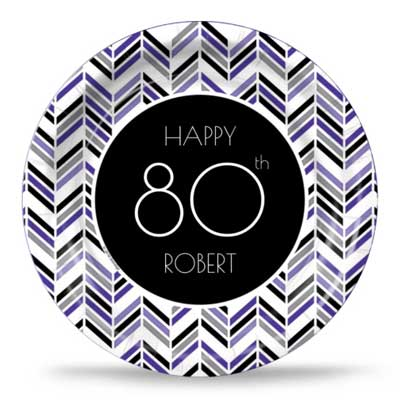 Best 80th Ever purple party plates