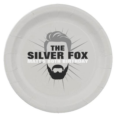 The Silver Fox with beard party plates