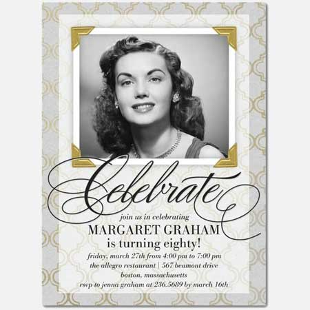80th Birthday custom photo Invitation