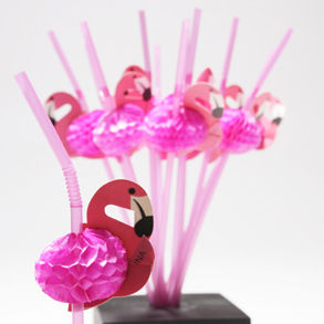 pink flamingo straws