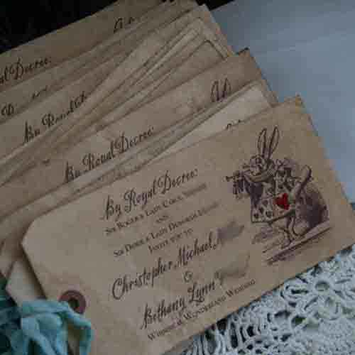 alice in wonderland tag invitation