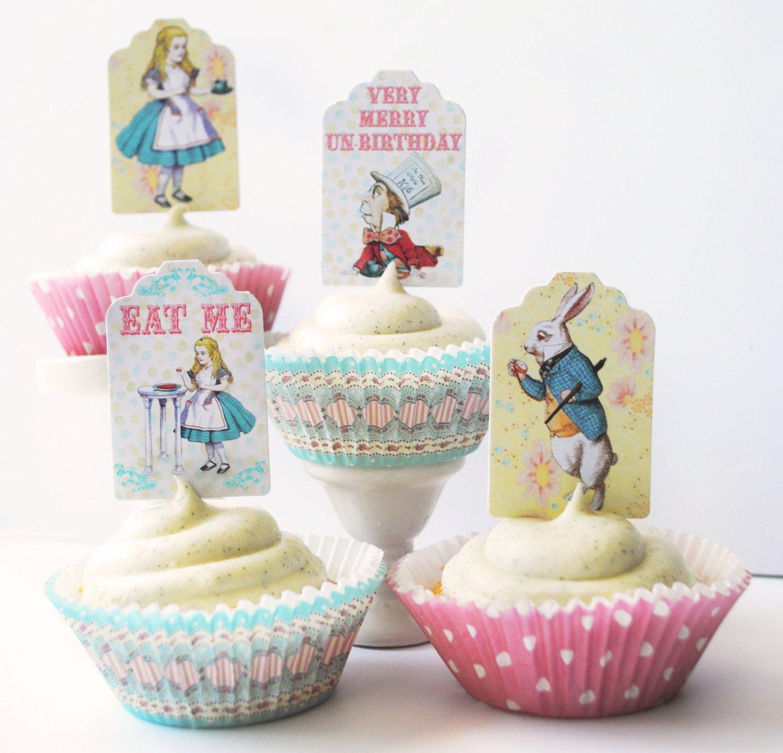 alice in wonderland cake toppers
