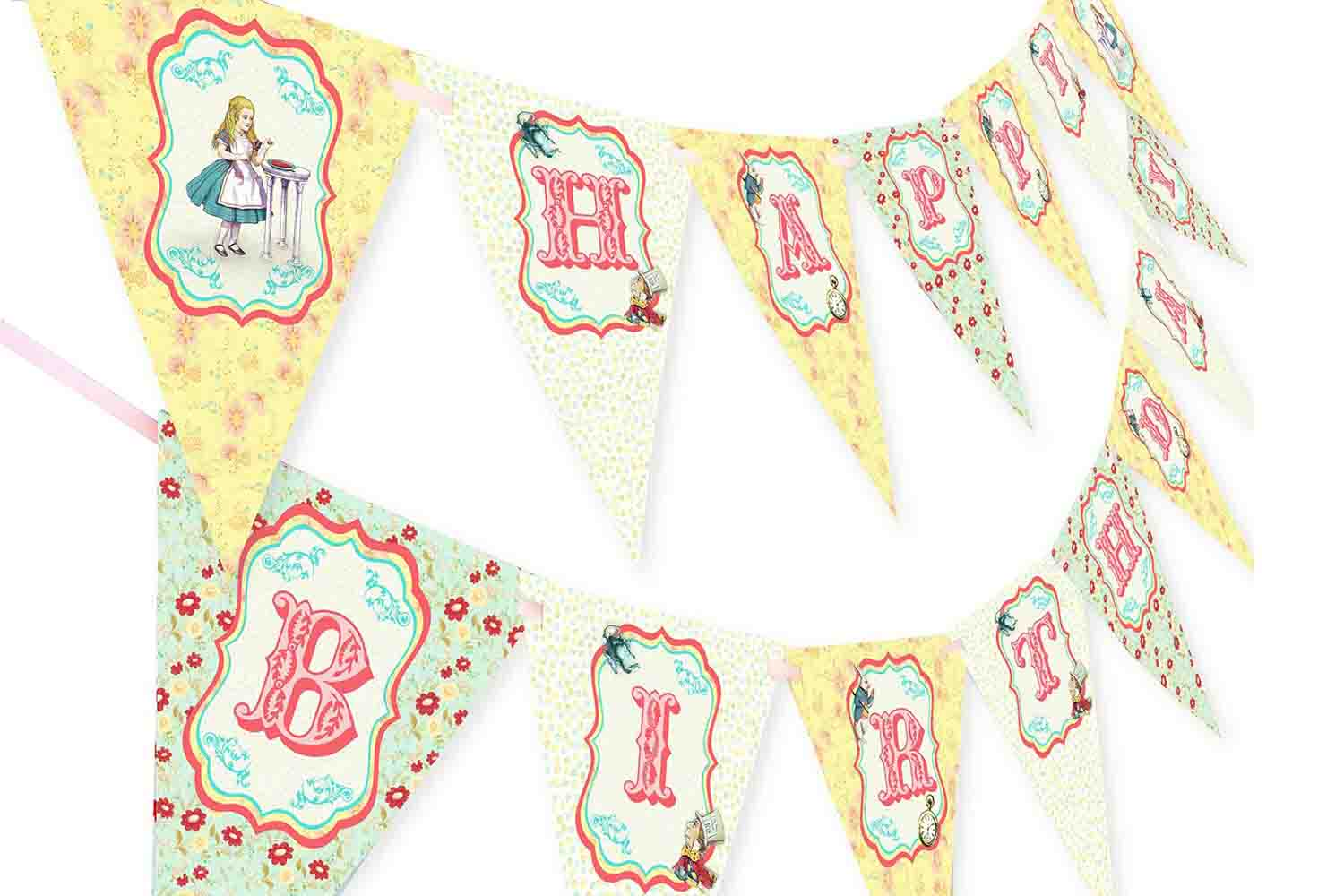 alice in wonderland garland banner