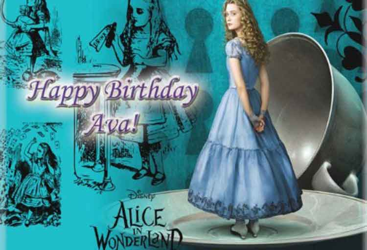 alice in wonderland edible cake image
