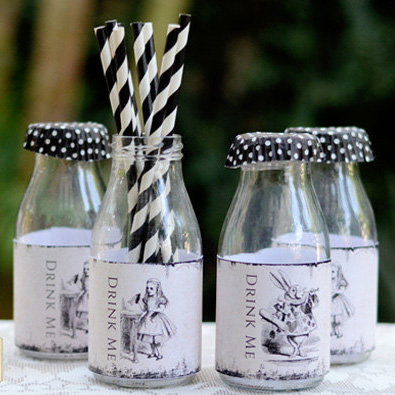alice in wonderland water labels