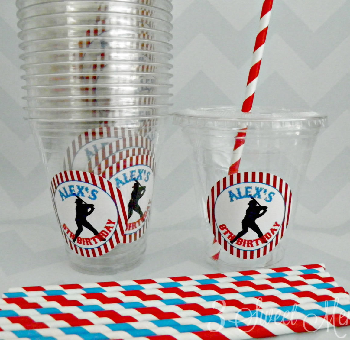 personalized baseball party cups