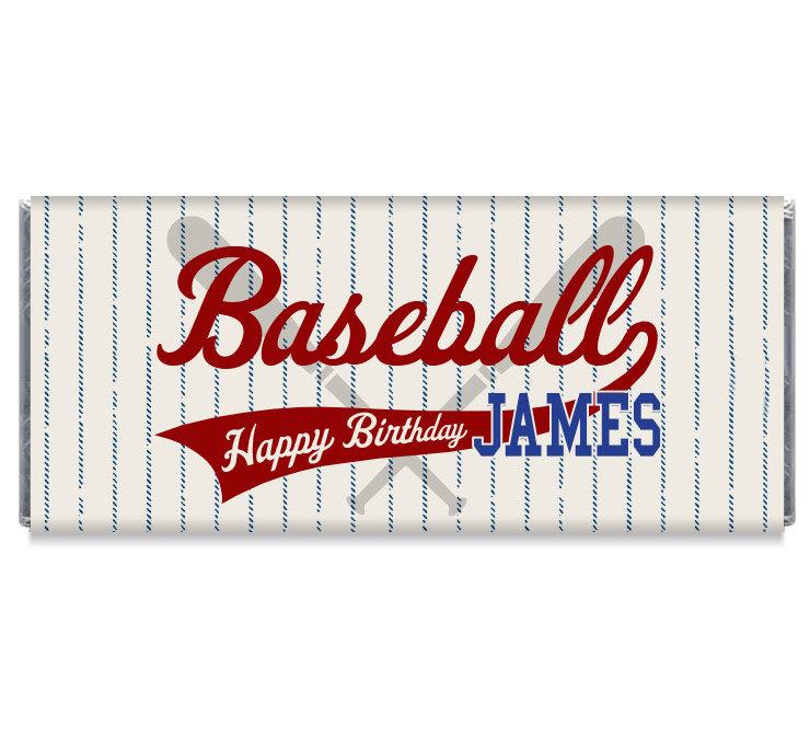 personalized baseball chocolate