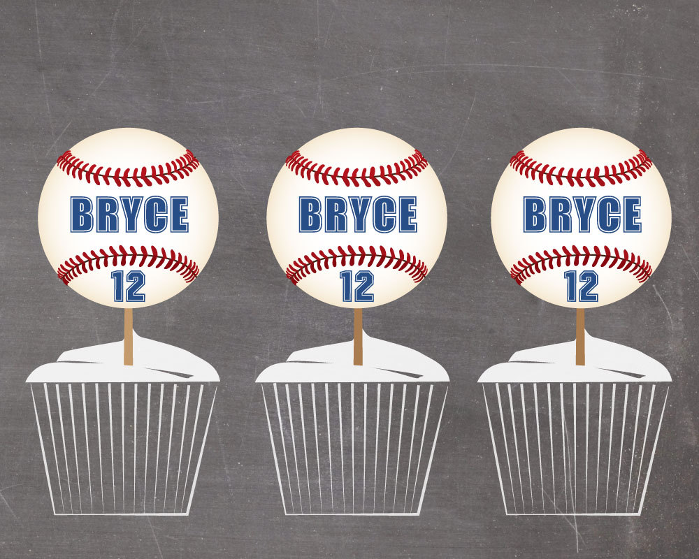 personalized baseball cupcake toppers