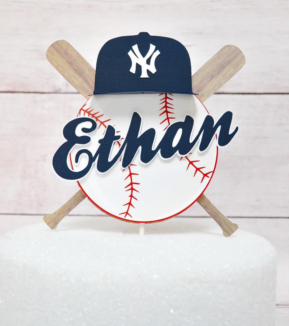 personalized baseball cake topper
