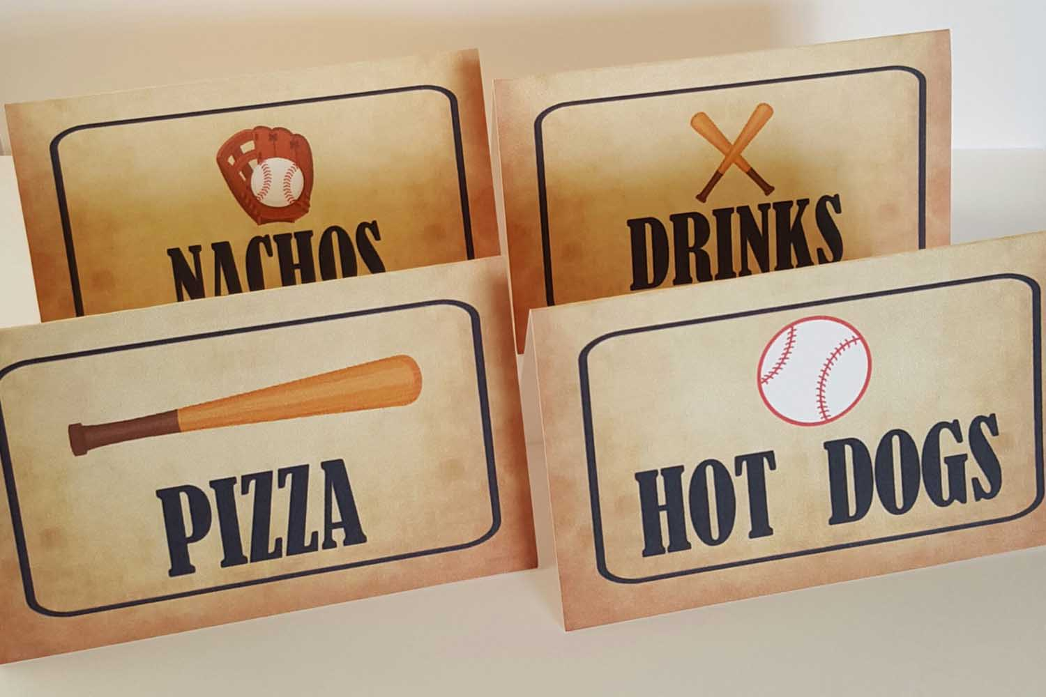 baseball party food tent labels
