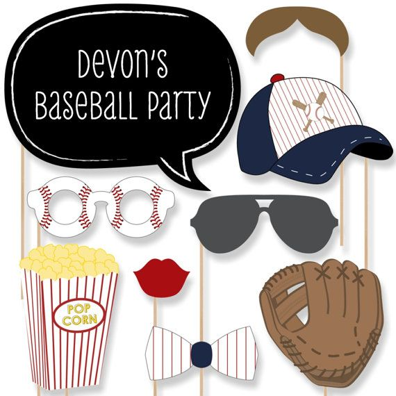 baseball party photo booth props