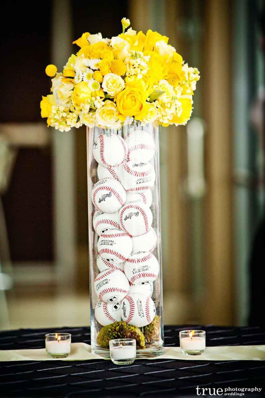 baseball flowers vase