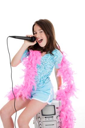 girl with karaoke machine