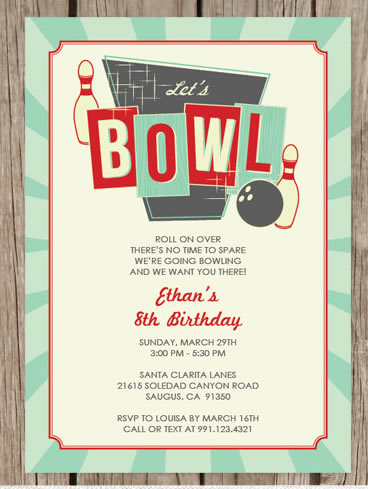 retro bowling invitations