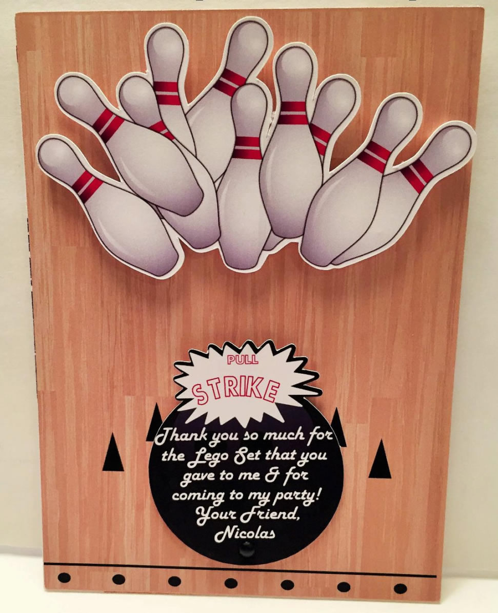 bowling thank you card