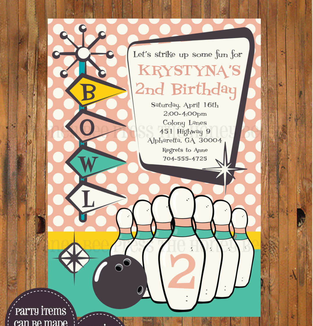 retro bowling invitations