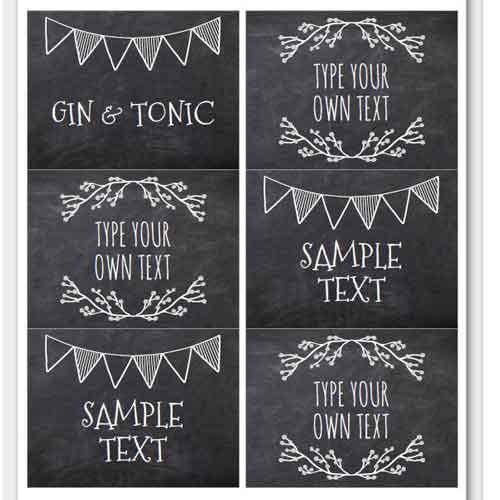 buffet table food tent labels chalkboard