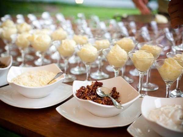 mash potato food station / buffet table