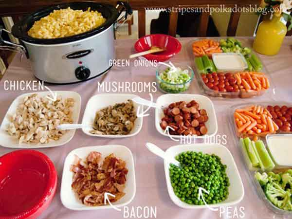 mac and cheese food station / buffet table