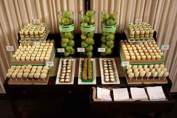 green dessert table food presentation