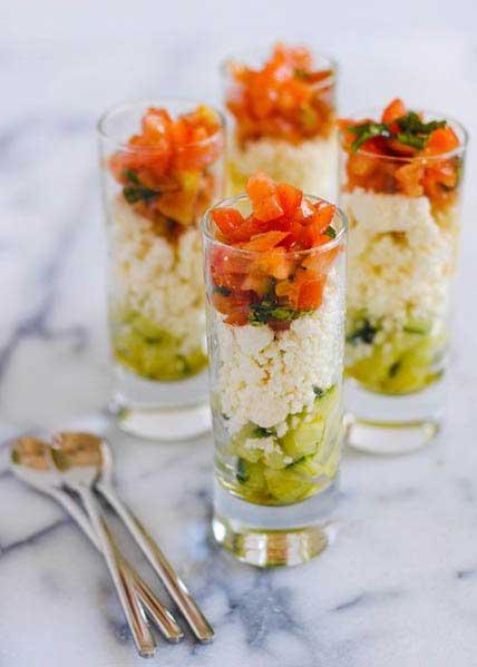 Feta salad in shooters