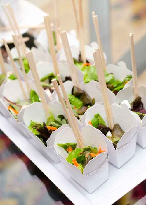 salad in chinese take out boxes
