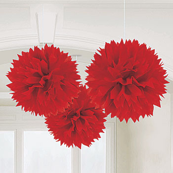 red pom pom decorations