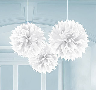 white tissue paper hanging decorations