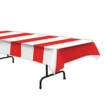 red and white striped tablecover
