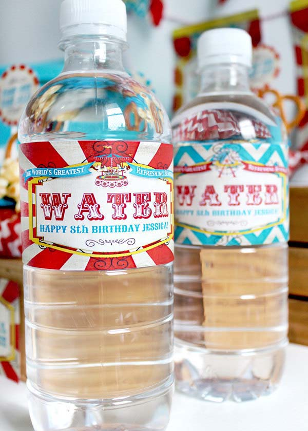 carnival water bottle labels