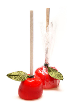 red apply candy lollipops