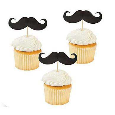 carnival mustache cupcake toppers