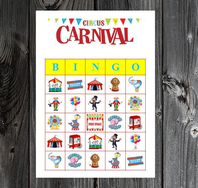 carnival party game printable bingo