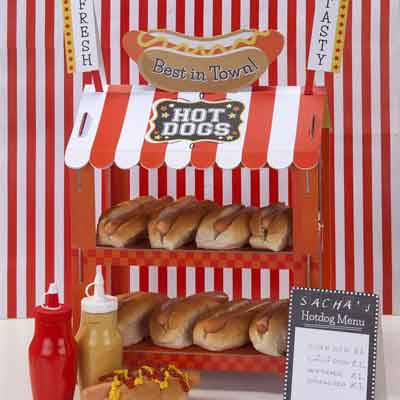 cardboard carnival stall treat stand hot dogs