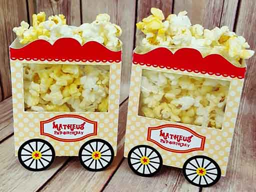 personalized popcorn cart treat box