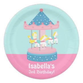 Personalized carnival party plates