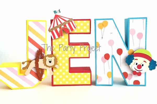 carnival themed 3D cardstock letters